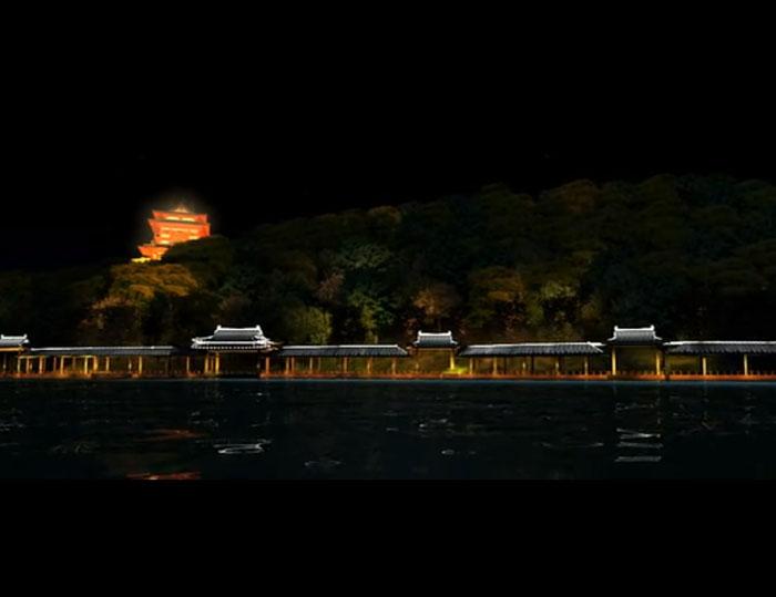 天目湖夜景灯光三维动画