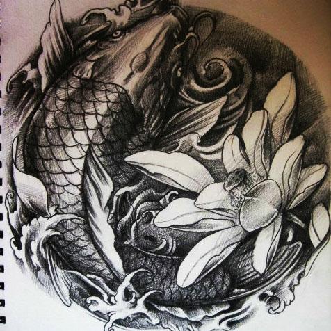 鲤鱼绘画作品