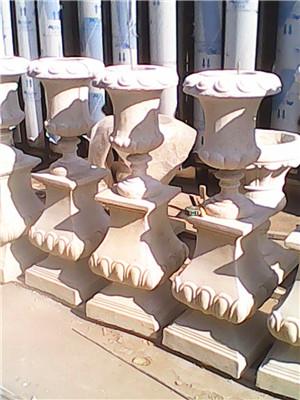 砂岩欧式花钵雕塑