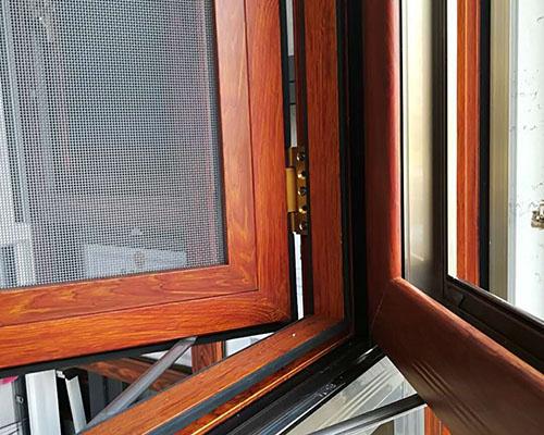 金橡木断桥纱窗一体窗