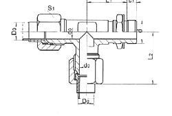 扩口式可调向端直角三通管接头