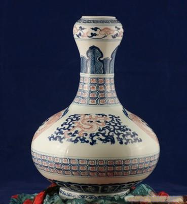 手繪150件青花釉裏紅蒜頭瓶