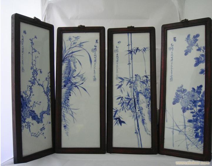 """手繪高仿做舊青花瓷板""""梅、蘭、竹、菊"""""""