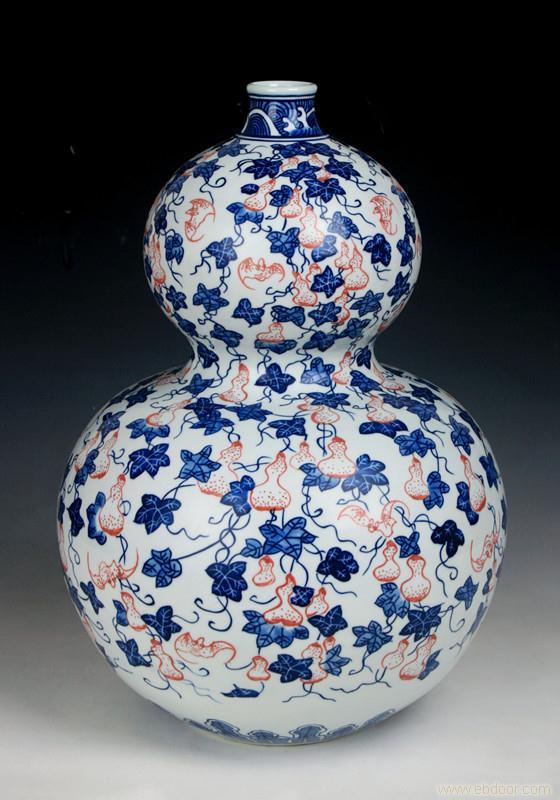 高仿200件青花釉裏紅福壽萬代葫蘆瓶