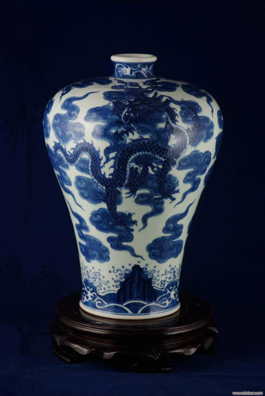 手繪150件高仿青花雲龍梅瓶