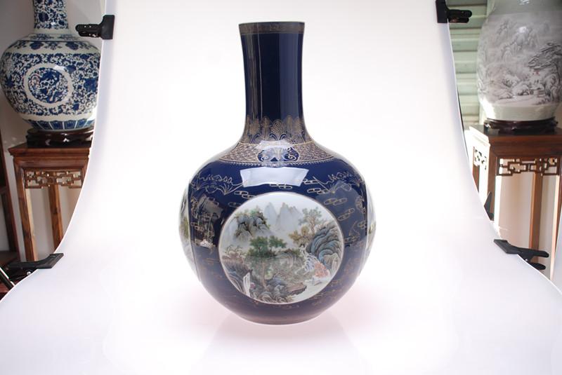 手繪300件祭蘭開堂山水天球瓶
