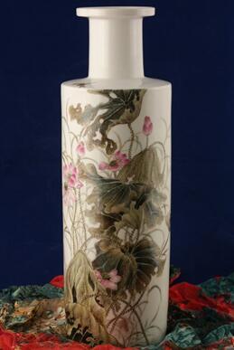 手繪粉彩荷花瓶(有收藏證書)丁成明作品