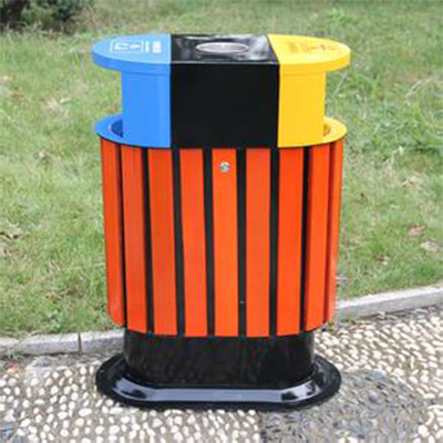 永利_钢木垃圾桶图片