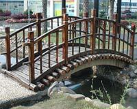 Carbonized wood arch bridge