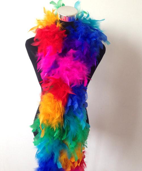 分色段羽毛围巾
