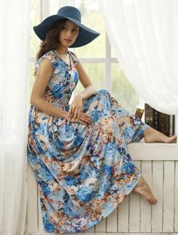 印花针织连衣裙