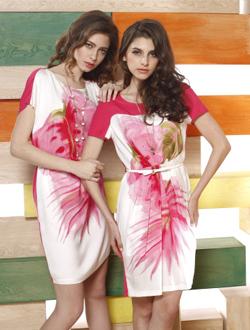 真丝针织镶拼短袖连衣裙