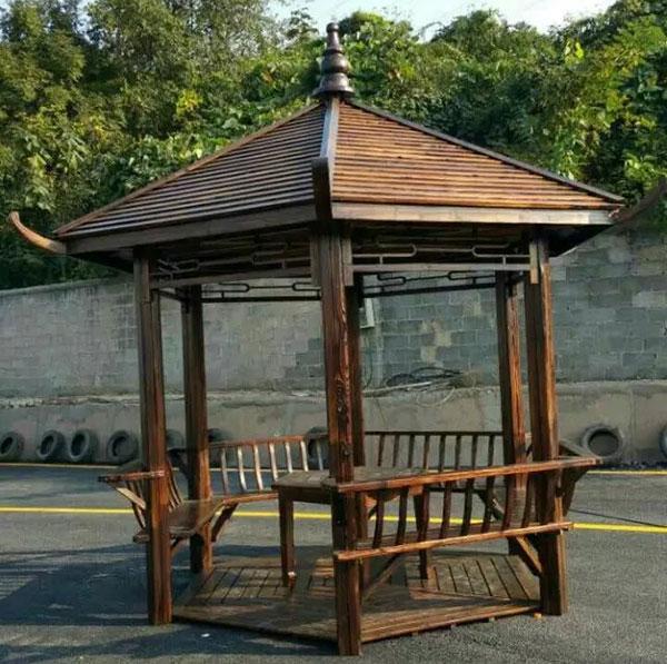 贵州碳化木凉亭