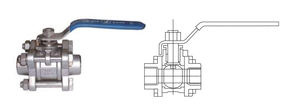 CZY15-12-Q71N三片式内螺纹球阀