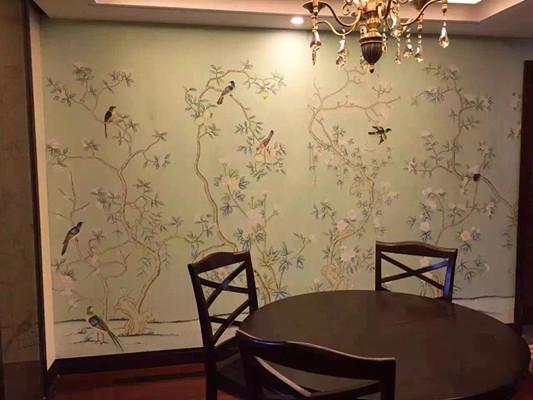 武汉真丝手绘背景墙制作
