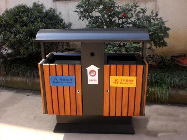 防腐木垃圾桶