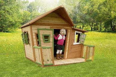 幼儿园户外小木屋滑梯