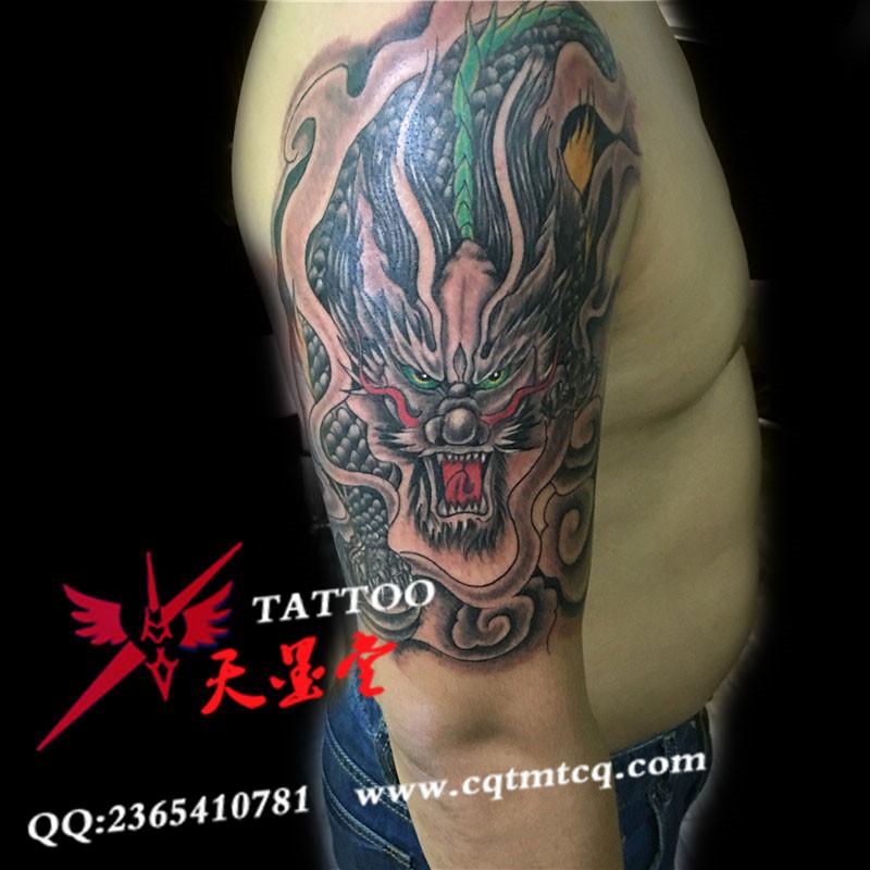 大臂神兽麒麟纹身