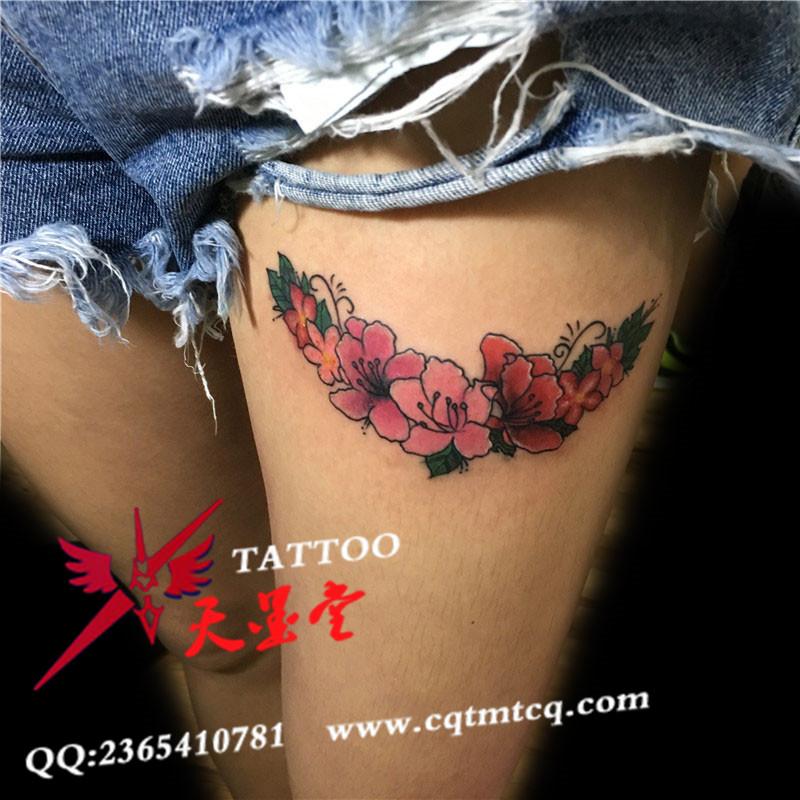 个性美女大腿樱花纹身图案