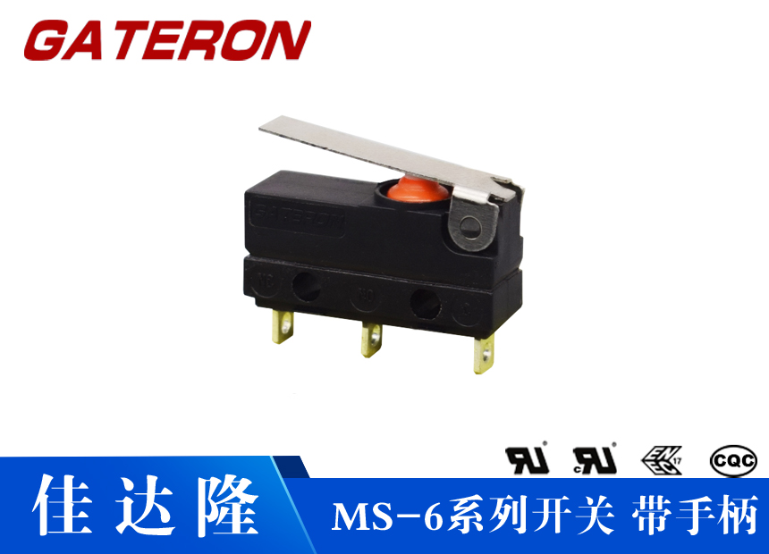MS-6系列(带手柄)惠州佳达隆小型防水微动开关 防水微动开关 超小型微动开关