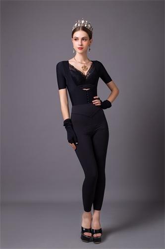 佳丝琦黑色长束裤