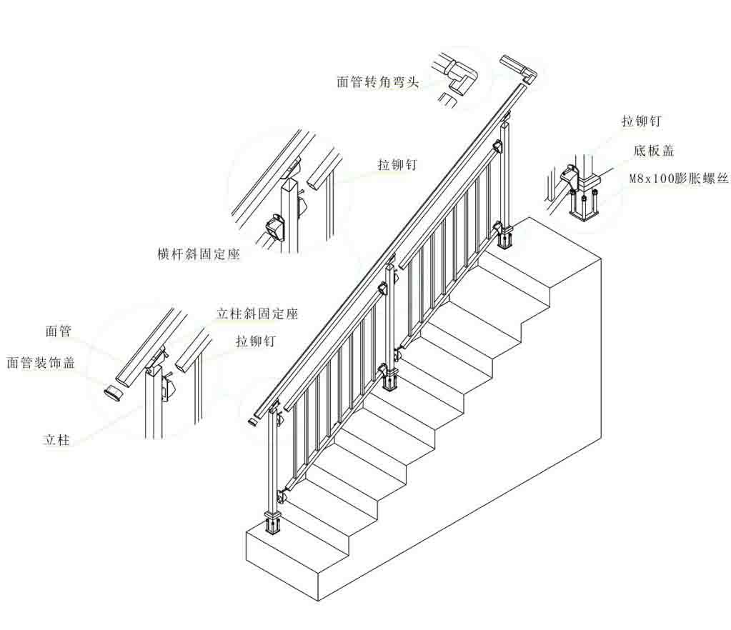 锌合金楼梯扶手价格