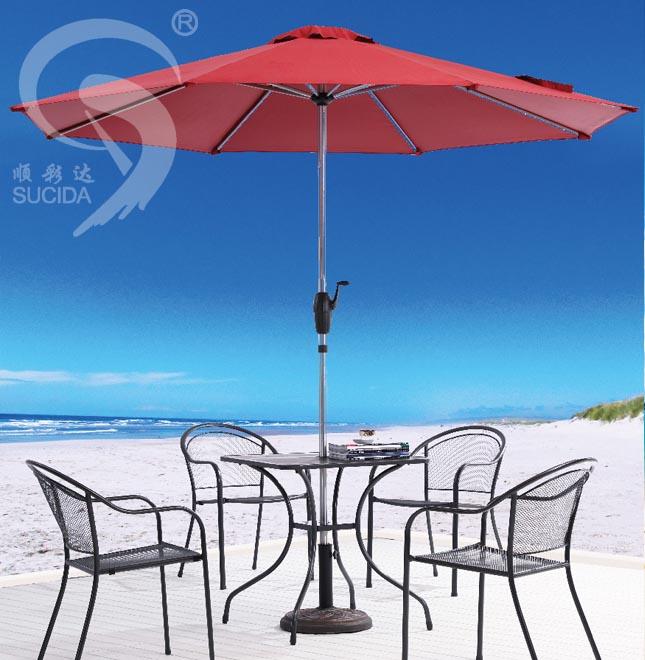 圆形铝拉丝手摇伞
