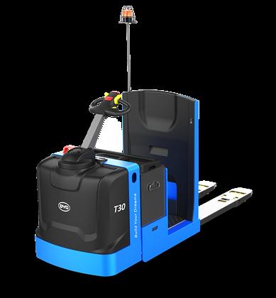 比亚迪锂电托盘车3吨站驾式托盘搬运车