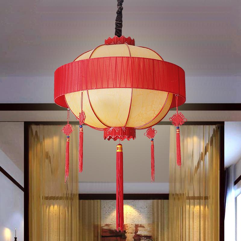 木艺羊皮吊灯