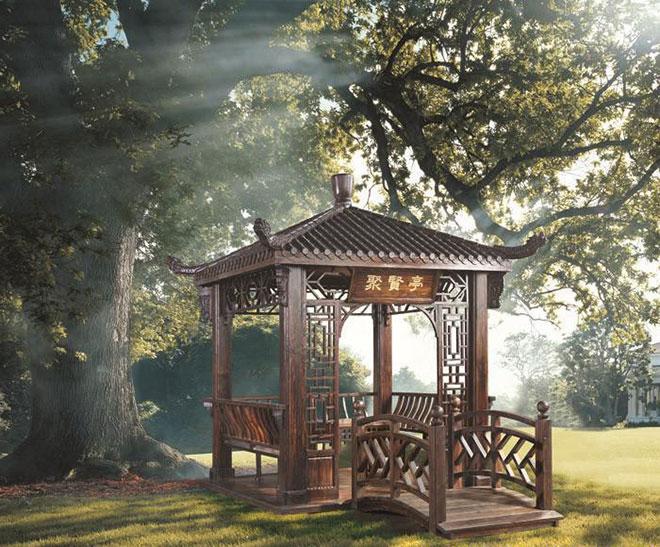 碳化木凉亭