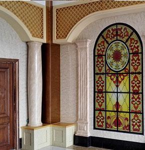 GRC仿大理石圆形柱装饰效果图