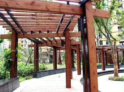 防腐木长廊