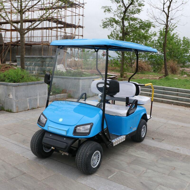 2座蓝色高尔夫球车
