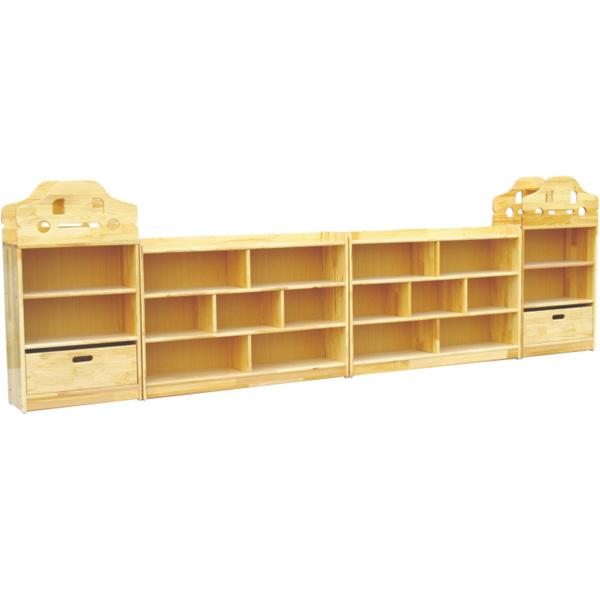实木书桌书柜组合