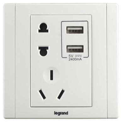 罗格朗带二三�USB充电�座