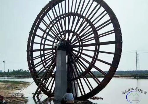 防腐木景观水车