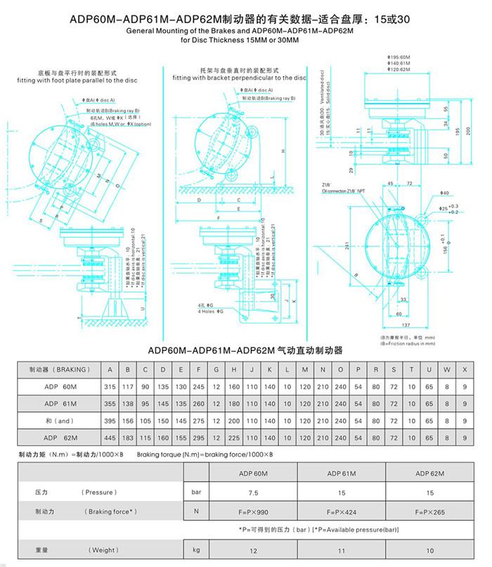 ADP60M、ADP61M、ADP62M系列气动直动制动器