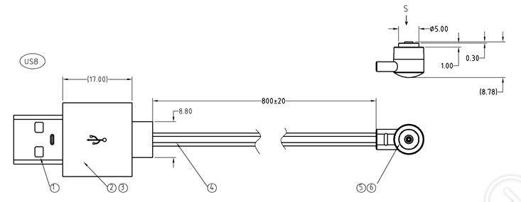 磁吸充电线规格