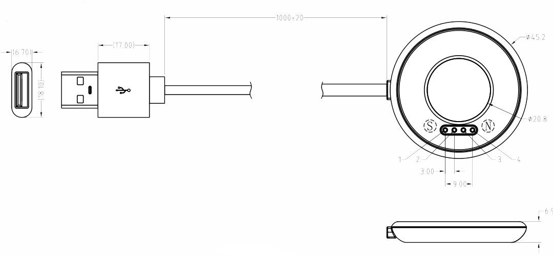 磁吸充电座规格