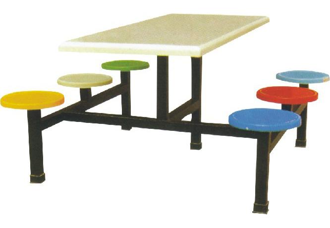 玻璃钢连体餐桌椅