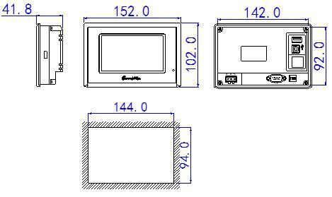 信捷触摸屏4.3英寸TG465-MT(P) UT(P)外观