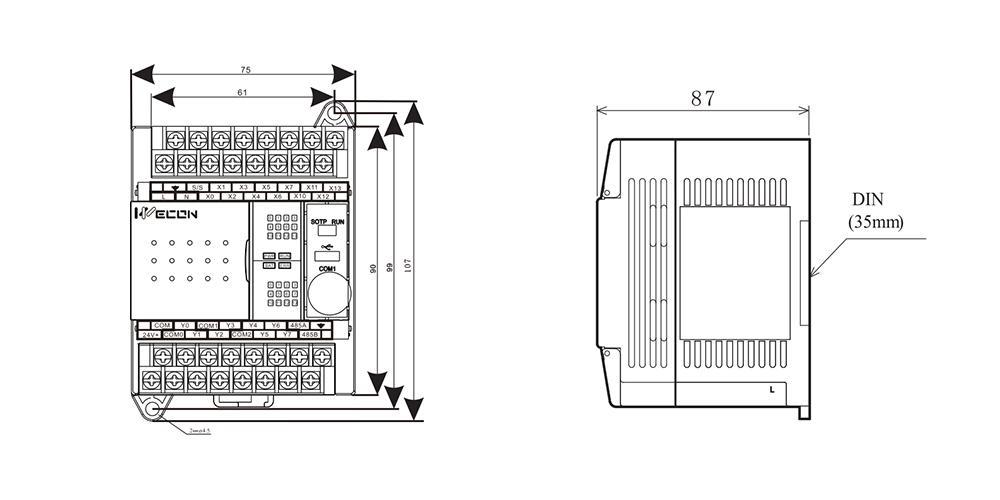 维控PLC LX3V-0806MRTA外观尺寸