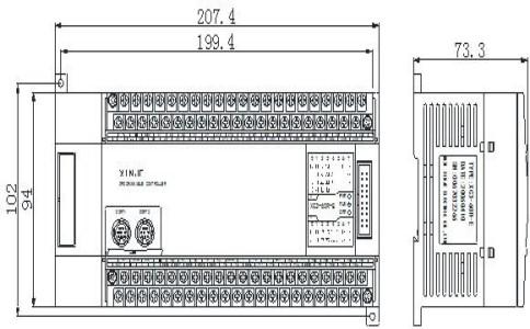 信捷PLC XC3-48RTRT-EC产品外观及尺寸(单位:mm)