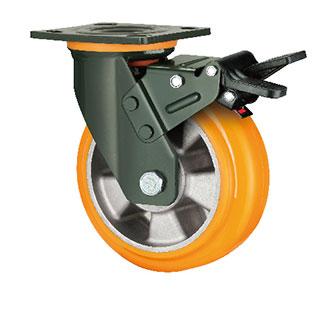 重型活动双刹双轴塑芯PU轮