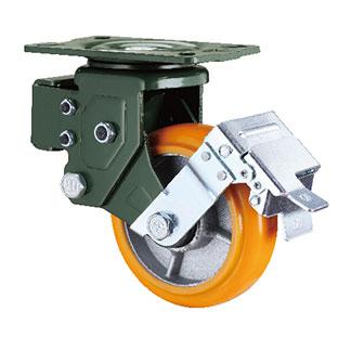 减震型平底活动刹车铁芯PU轮