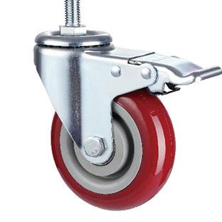 中型丝杆活动双刹双轴枣红PU轮