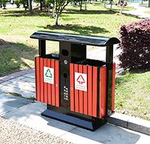 昆明防腐木分类垃圾桶