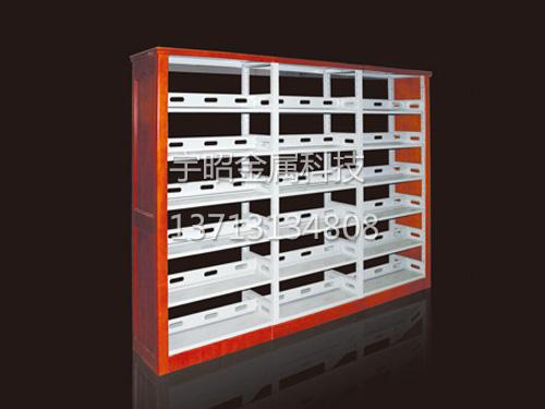 双柱双面防火板钢木书架