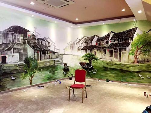 郑州饭店墙体彩绘