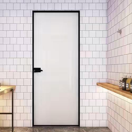 白色烤漆玻璃16极窄边框黑色平开门